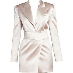 Alexandre Vauthier Women's Deep V-Neck Satin Tuxedo Mini Dress - Powder - Size 40 (4) found on MODAPINS from Saks Fifth Avenue for USD $3765.00