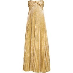 Alexis Women's Joya Strapless Sweetheart Lamé Pleated A-Line Dress - Gold Lame - Size Large found on MODAPINS from Saks Fifth Avenue for USD $548.10