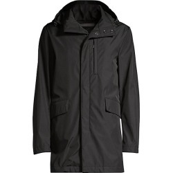 Canali Men's Zipper-Front Woven Hooded Coat - Black - Size 52 (42) R