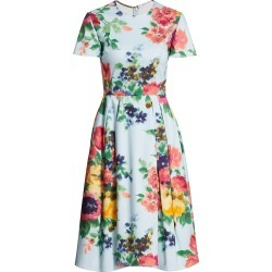 Carolina Herrera Women's Short-Sleeve Floral A-Line Dress - Blue Floral - Size 12 found on MODAPINS from Saks Fifth Avenue for USD $1490.00