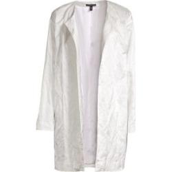 Satin Weave Open-Front Coat