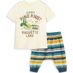 Peek Baby Boy's 2-Piece Camp Pine Knot Graphic T-Shirt & Striped Pants Set - Off White - Size 18-24 Months found on MODAPINS from Saks Fifth Avenue OFF 5TH for USD $19.99