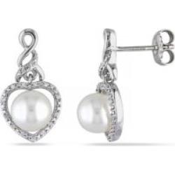 Boucles d'oreilles en caur en argent sterling avec diamants 0,10 ct PT et perle d'eau douce