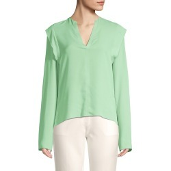 Derek Lam Women's Long Sleeve Ruffle Silk Blouse - Pistachio - Size 44 (8) found on MODAPINS from Saks Fifth Avenue OFF 5TH for USD $189.99