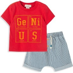 Peek Baby Boy's Genius-Graphic T-Shirt & Pinstripe Shorts Set - Red - Size 18-24 Months found on MODAPINS from Saks Fifth Avenue OFF 5TH for USD $19.99