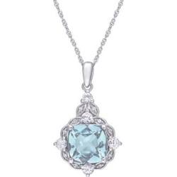 Or blanc 14 ct avec aigue-marine, saphir blanc et 0,03 ct Collier de style rétro serti de diamant PT