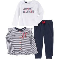 Ensemble veste rayée, haut à logo et pantalon d'entraînement en mélange de coton pour bébé fille, 3 pièces