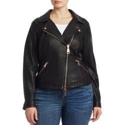 Ashley Graham x Marina Rinaldi Women's Ebanista Leather Biker Jacket - Black - Size 4 found on MODAPINS from Saks Fifth Avenue for USD $411.00