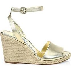 Prada Women's Metallic Leather Wedge Espadrille Sandals - Gold - Size 36.5 (6.5)