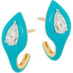 Diamonds In Color 18K Two-Tone Gold, Diamond & Blue Ceramic Earrings