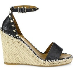 Rockstud Leather Espadrille Double Wedge Sandals