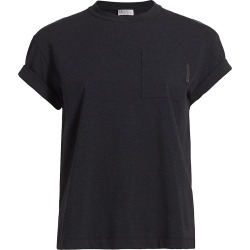 Brunello Cucinelli Women's Short Sleeve T-Shirt - Anthracite - Size Medium found on MODAPINS from Saks Fifth Avenue for USD $695.00