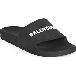 Balenciaga Men's Logo Pool Slides - Black White - Size 41 (8) E Sandals found on MODAPINS from Saks Fifth Avenue for USD $275.00