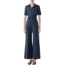 Short Sleeve GG Belt Cady Crepe Jumpsuit