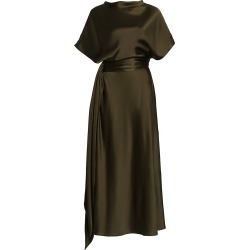 Brandon Maxwell Women's Boatneck Silk Dress - Dark Olive - Size 8 found on MODAPINS from Saks Fifth Avenue for USD $2190.00