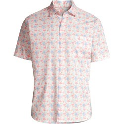 Peter Millar Men's Paradise Flamingo Short-Sleeve Button-Up Shirt - Bayside Blue - Size XXL found on Bargain Bro from Saks Fifth Avenue for USD $110.20
