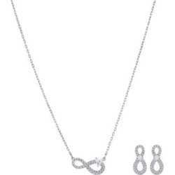 Infinity Rhodium-Plated & Swarovski Crystal Necklace & Earrings Set