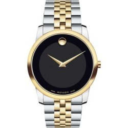 movado museum black dial steel black leather mens amp womens