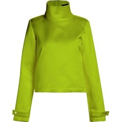 Brandon Maxwell Women's Stand Collar Silk Crop Top - Apple Green - Size 10 found on MODAPINS from Saks Fifth Avenue for USD $582.75