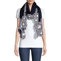 Janavi Women's Embroidered Floral Cutwork Border Cashmere Scarf - Navy White found on MODAPINS from Saks Fifth Avenue for USD $950.00