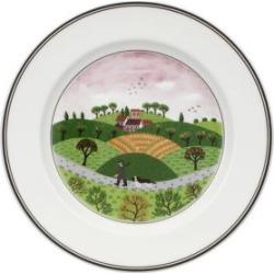 Assiette à salade en porcelaine avec imprimé d'un chasseur et d'un chien Design Naif