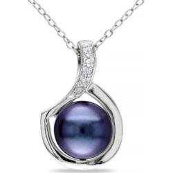 Collier en argent sterling avec diamants 0,06 ct PT et perle d'eau douce noire