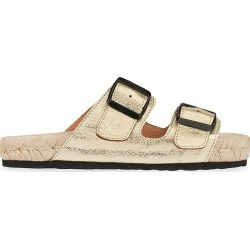 Manebi Women's Nordic Metallic Leather Espadrille Slides - Mettalic Gold - Size 10 Sandals found on Bargain Bro from Saks Fifth Avenue for USD $114.00
