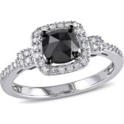 1 CT Black and White Cushion and Round Diamonds TW 14k White Gold Fashion Ring