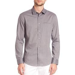 John Varvatos Men's Adjustable Sleeve Slim Fit Shirt - Thunder - Size XXL found on MODAPINS from Saks Fifth Avenue for USD $91.19
