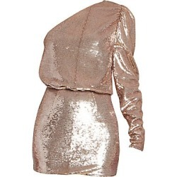 Alexandre Vauthier Women's Micro Sequins One-Shoulder Blouson Mini Dress - Pink Gold - Size 38 (6) found on MODAPINS from Saks Fifth Avenue for USD $2545.00