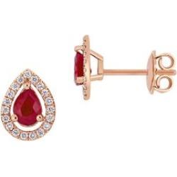 Boutons d'oreilles en or rose 14 ct avec rubis et pourtour de diamants 0,2 ct PT en forme de goutte