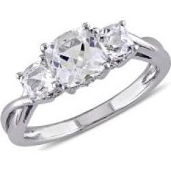 Bague en or blanc 10 ct à diamant 0,04 ct PT serti de trois pierres et de saphir blanc synthétique