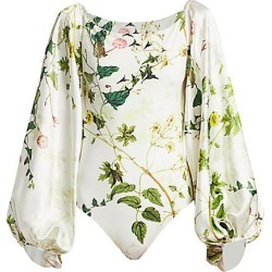 Adriana Iglesias Women's Nube Wildflower Stretch-Silk Puff-Sleeve Bodysuit - Wildflower - Size 42 (10) found on MODAPINS from Saks Fifth Avenue for USD $567.00