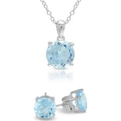 Blue Topaz Solitaire Sterling Silver Earrings and Necklace Set