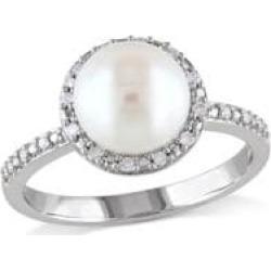Bague en halo en argent sterling avec diamants 0,10 ct PT et perle d'eau douce