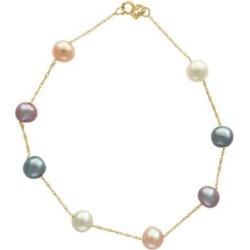 Bracelet en or 14 K avec perles d'eau douce de 5,5 mm