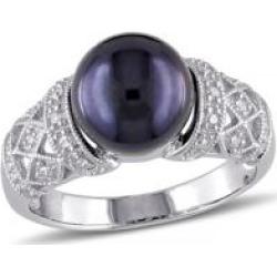 Bague en argent sterling avec diamants 0,10 ct PT et perle d'eau douce noire