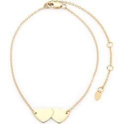 14K Yellow God Double Heart Adjustable Anklet