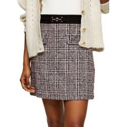 Metal Trim Boucle Check Mini Skirt