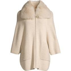 Sofia Cashmere Women's Fox-Fur Collar Ottoman Ribbed Cashmere Cardigan - Oatmeal - Size Small / Medium