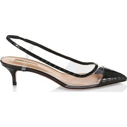 Aquazzura Women's Temptation Croc-Embossed Leather & PVC Slingback Pumps - Black - Size 35 (5) found on MODAPINS from Saks Fifth Avenue for USD $208.50