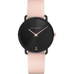 Montre en acier inoxydable à placage ionique noir et bracelet en cuir, collection Miss Ocean Line
