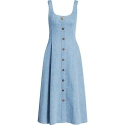 Adam Lippes Women's Scoopneck Chambray Button-Front Midi Dress - Light Indigo - Size 4 found on MODAPINS from Saks Fifth Avenue for USD $580.50