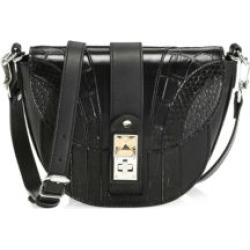 Small PS11 Snakeskin & Croc-Embossed Leather Saddle Bag