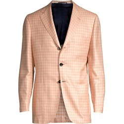 Kiton Men's Gingham Single-Breasted Wool, Silk & Linen Blazer - Peach - Size 52 (42) R found on MODAPINS from Saks Fifth Avenue for USD $3897.50