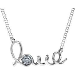 Collier à pendentif avec inscription cursive Love » en or blanc 14 ct serti d'un diamant