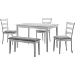 5-Piece Chenille Dining Set with Bench