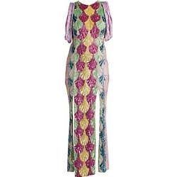 Attico Women's Deco Degrade Embroidered Gathered-Sleeve Gown - Embroidery - Size 40 (6) found on MODAPINS from Saks Fifth Avenue for USD $3696.00