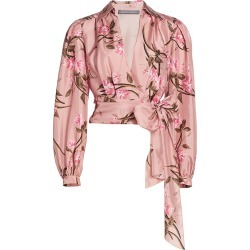 Alberta Ferretti Women's Printed Flowers Silk Tied Wrap Top - Fantasy Print Pink - Size 12 found on MODAPINS from Saks Fifth Avenue for USD $950.00
