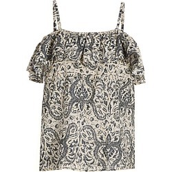 Figue Women's Tamara Spaghetti Strap Ruffle Top - Lotus Batik Sand - Size XL found on MODAPINS from Saks Fifth Avenue for USD $295.00